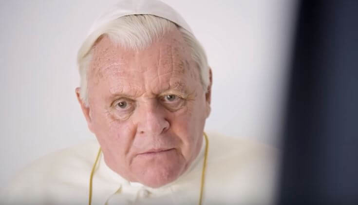 Anthony Hopkins as Pope Benedict in The Two Popes is imposing