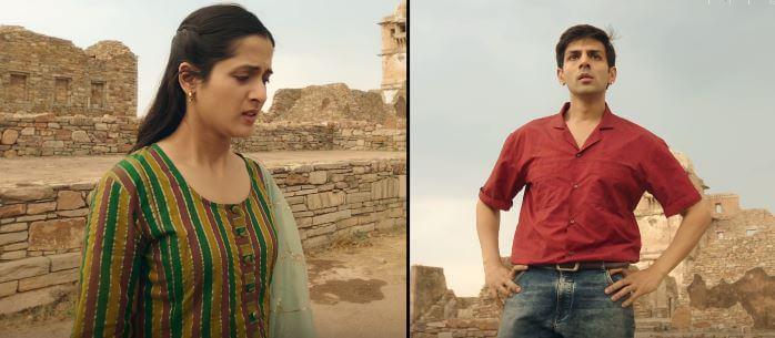 Arushi Sharma as Leena & Kartik Aaryan as young Raghu in Love Aaj Kal 2